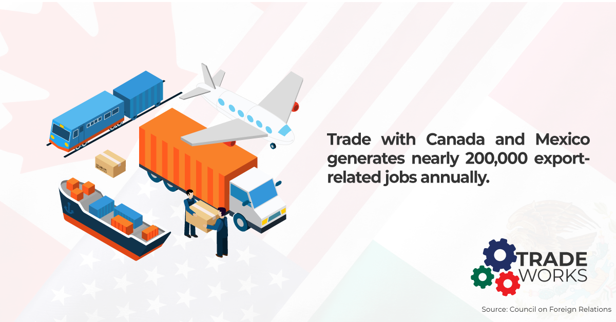 Tradeworks. Trade with Canada and Mexico generates nearly 200.000 export-related jobs per year